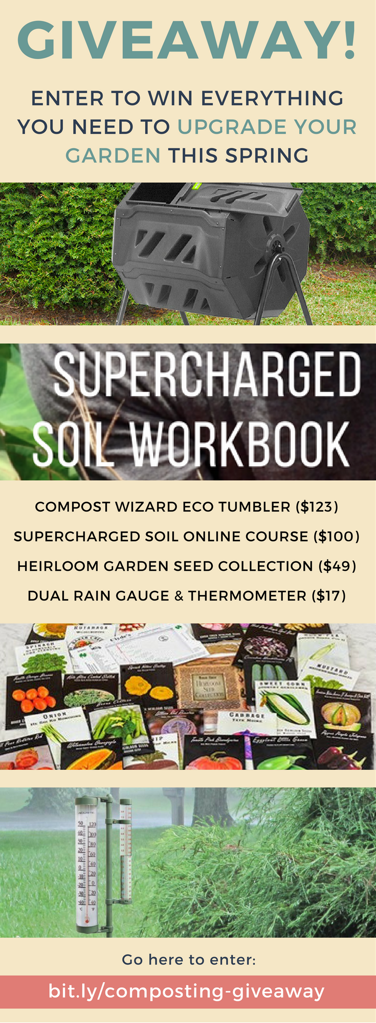 UPGRADE YOUR GARDEN GIVEAWAY! This season, we're giving one lucky winner the education, gear and seeds to upgrade their garden! | http://bit.ly/composting-giveaway/ | Enter to win: Supercharged Soil Through Strategic Composting Online Course ($100), Compost Wizard Eco Tumbler ($123.99), Baker Creek Heirloom Garden Seed Collection ($49), Acurite Rain Gauge and Thermometer Garden Stick ($17)